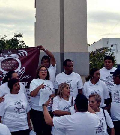 Mitin de protesta por huso horario se convirtió en pasarela de aspirantes a candidatos a diputados por Morena