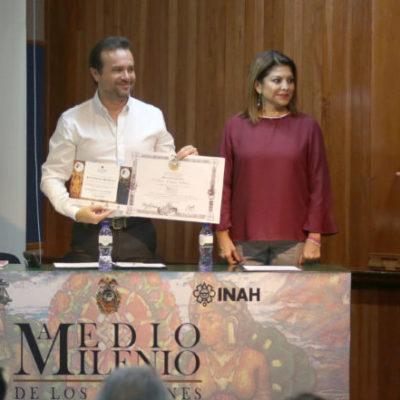 """Entrega la Sociedad Mexicana de Geografía y Estadística reconocimiento a Pedro Joaquín por su apoyo a """"500 Años, Encuentro de Dos Culturas"""""""