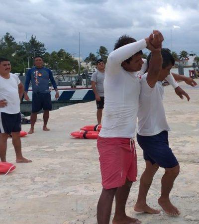 Capacitan a guardavidas de Isla Mujeres para proteger a bañistas que arriben durante la temporada vacacional de Semana Santa