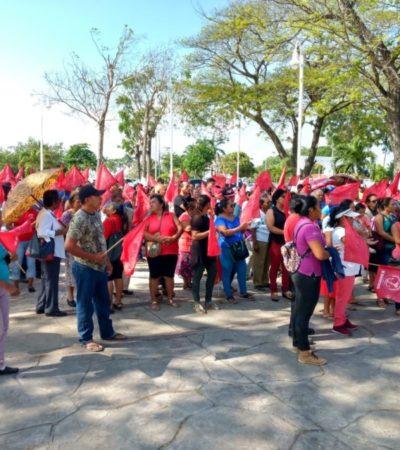 Antorchistas protestan en Chetumal; exigen maestros para sus escuelas y otras demandas