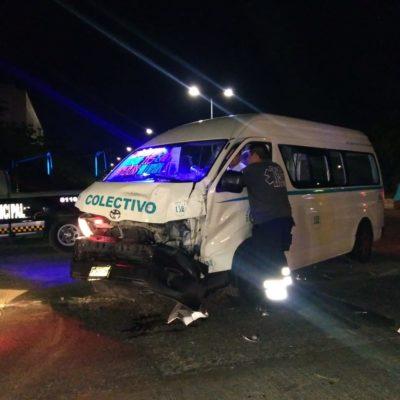 Choque de camioneta con combi deja seis lesionados en Playa del Carmen