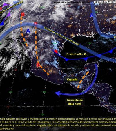 Frente frío cruzará entre hoy y mañana por la península de Yucatán
