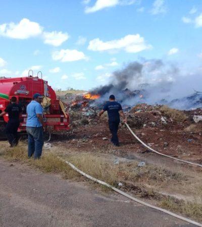 Autoridades de José María Morelos registran seis conatos de incendio que fueron controlados; piden a los habitantes evitar tirar colillas de cigarro
