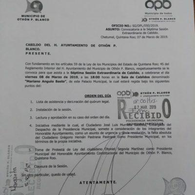NUEVA CONVOCATORIA AL CABILDO: Otoniel Segovia rendiría protesta como Alcalde interino de OPB mañana viernes