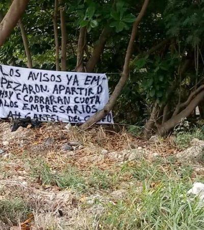 ¿SE ENVALENTONA LA DELINCUENCIA EN LA CAPITAL DE QR?: Aparece presunta narcomanta con amenazas contra empresarios en Chetumal enfrente de un negocio atacado a balazos