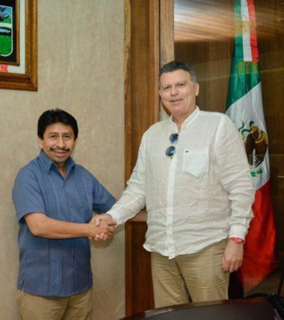 Eric Mayoraz, embajador de Suiza en México se reúne con el presidente municipal, Víctor Mas Tah