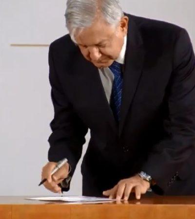 DEDICADO A LOS SEÑORES CONSERVADORES: Firma AMLO compromiso de no reelección