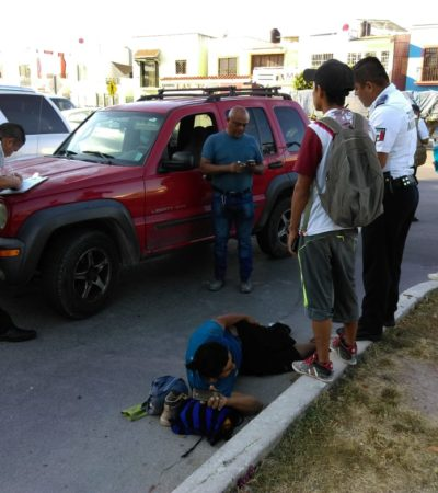 Ciclista se fractura la pierna al ser arrollado en Playa del Carmen
