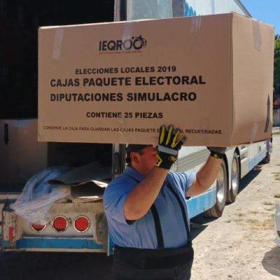 Ieqroo recibe el material electoral de simulacro que será utilizado por funcionarios de mesas directivas de casillas el próximo 2 de junio