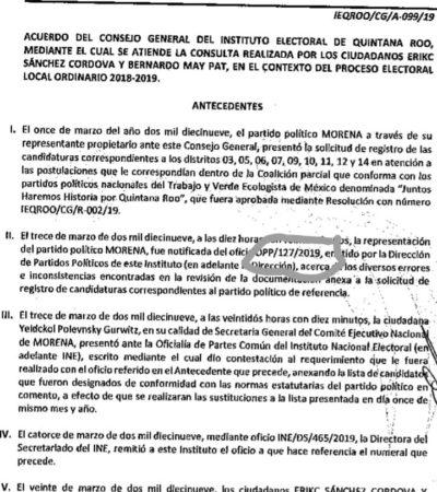 Revisa Ieqroo procedencia de sustitución de candidatos a diputados hecha por la secretaria general del CEN de Morena