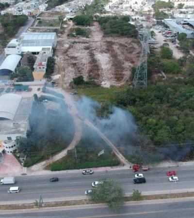 Evacúan a alumnos del Colegio Weston por incendio de maleza en Playa del Carmen