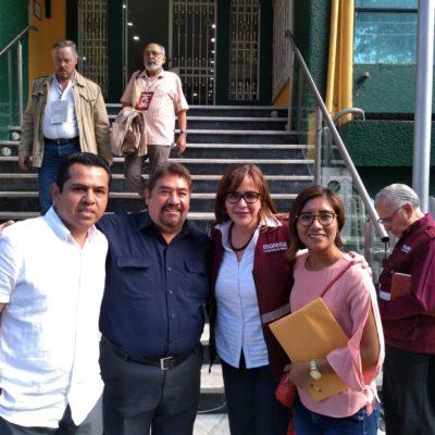 Dice Héctor Ortega que Yeidckol Polevnsky dio garantías de que Morena privilegiará a militantes en la asignación de candidaturas a diputaciones locales