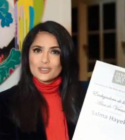 Presume Salma Hayek nombramiento como Embajadora de Veracruz por los 500 años de su fundación