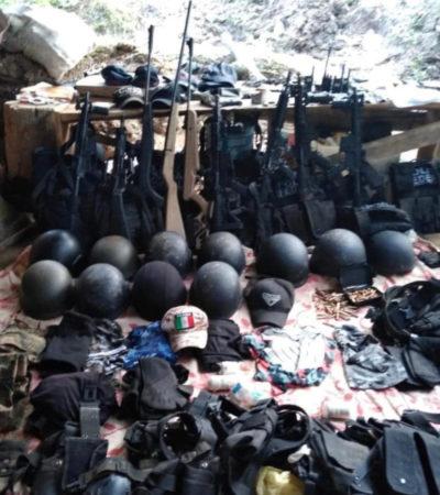 Abate Fuerza Civil a tres integrantes del CJNG en Veracruz; escondían armamento y equipo táctico
