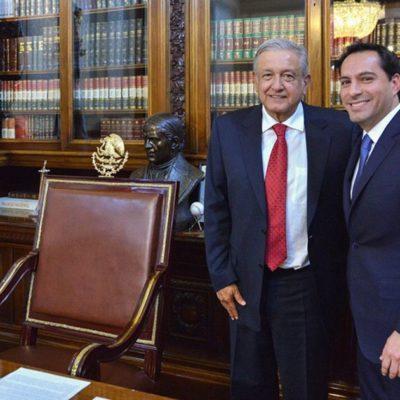 Se reune Vila Dosal con AMLO en Palacio Nacional; comprometen trabajo coordinado por Yucatán