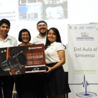 """Entregan telescopios a 12 clubes de ciencia que participaron en el proyecto """"Del Aula al universo 2018"""", en Playa del Carmen"""