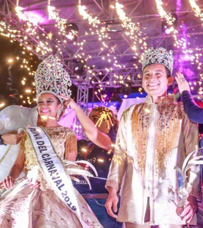 INICIA EL CARNAVAL DE TULUM: Cinthia Adriana Morales Carranza y Gerardo Cocom May, fueron coronados