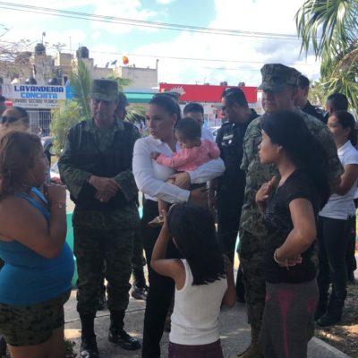 MONTAN OPERATIVO CON ALCALDESA A BORDO: Realizan fuerte movilización policiaca en Villas Otoch Paraíso con Mara Lezama de 'supervisora'