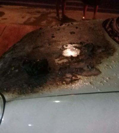 Provocan incendio de automóvil en Chetumal