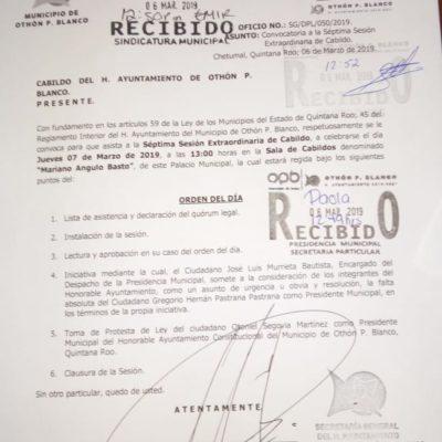 HABRÁ ALCALDE INTERINO EN LA CAPITAL DE QR: Llama Cabildo de OPB a suplente de Hernán Pastrana