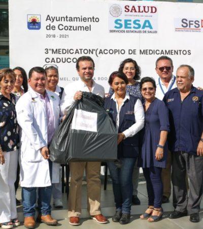 Exhorta Pedro Joaquín a la ciudadanía a eliminar correctamente los medicamentos caducados en el tercer Medicatón de Cozumel