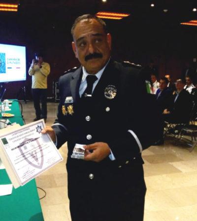 La Cámara de Diputados otorga reconocimiento por su trayectoria a Guido Renán Rosas, director de Seguridad Pública de Cozumel