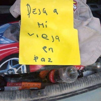 """""""DEJA A MI VIEJA EN PAZ"""": Balean el coche de supuesto 'sancho' y le dejan mensaje en la comunidad de Limones"""