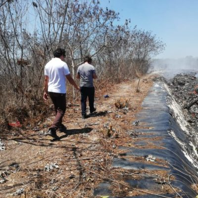 Evalúan daños ambientales ocasionados por incendio en el basurero municipal de Carrillo Puerto