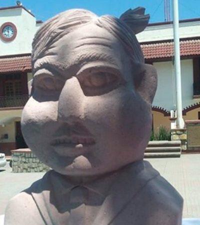 Contraataca escultor del Juárez 'alien', ahora con singular busto de AMLO que más bien parece 'Quico'