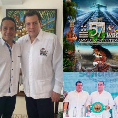 HAY COSAS QUE NO CAMBIAN EN QR: Al estilo de Félix y Borge, Carlos Joaquín le entra al espectáculo boxístico y pacta realización en Cancún de la Convención Anual del CMB