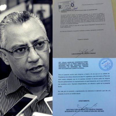OFICIAL: Confirma Carlos Mario Villanueva su renuncia al PES-QR y se declara diputado independiente