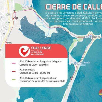 Previenen a ciudadanía por cierre de vialidades por competencia triatlética 'Cancún Challenge 2019'