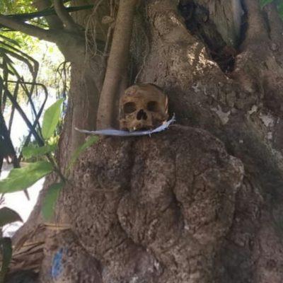 Hallan cráneo humano con mensaje en Playa del Carmen