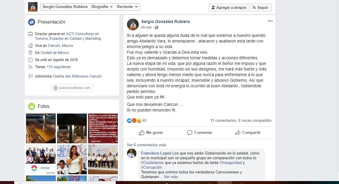 ASALTAN AL EMPRESARIO ABELARDO VARA: Difunden en redes que el hotelero, suegro de 'Chanito' Toledo, fue atacado y golpeado en Cancún