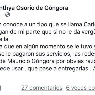 Denuncia esposa de Góngora robo de cuentas de redes sociales