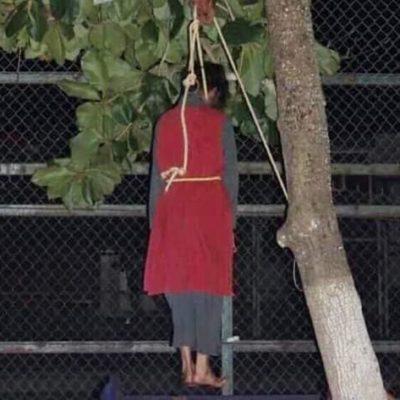 Un 'Judas' yucateco casi se ahorca de verdad durante escenificación del viacrucis en Baca