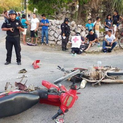 Dejan accidentes de motocicleta un fallecido, un bebé hospitalizado, seis lesionados leves y tres encarcelados en Yucatán