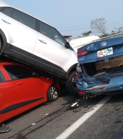 Sufren choque múltiple en la carretera Villahermosa-Macuspana en Tabasco