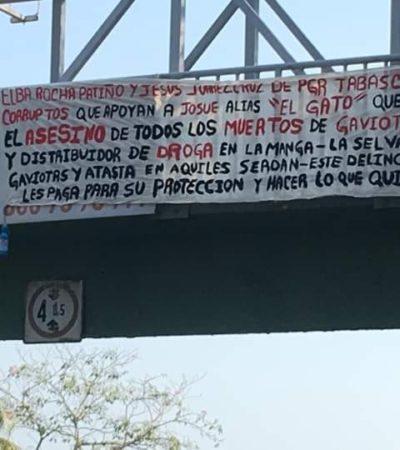 'Dedican' narcomanta a delegada de la FGR en Tabasco el mismo día de su remoción del cargo