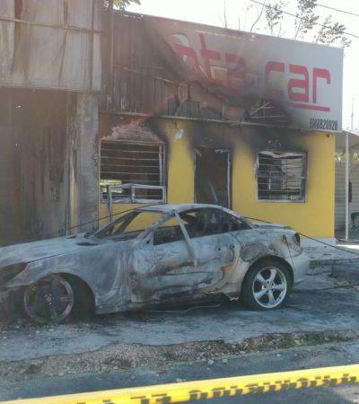 SALDOS DEL ATAQUE A RENTADORA DE AUTOS DE LUJO EN CANCÚN: Fueron calcinados ocho vehículos en Planet Car's