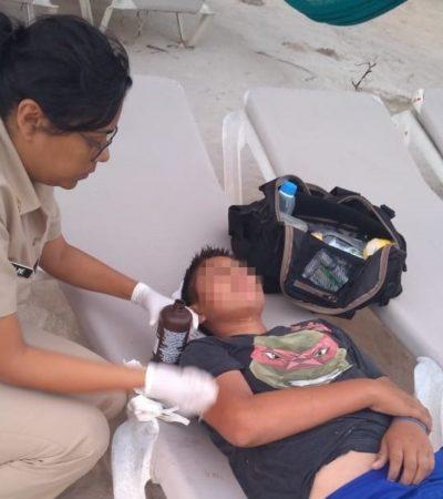 Elementos de la Marina rescatan a tres menores estuvieron a punto de ahogarse en Mahahual