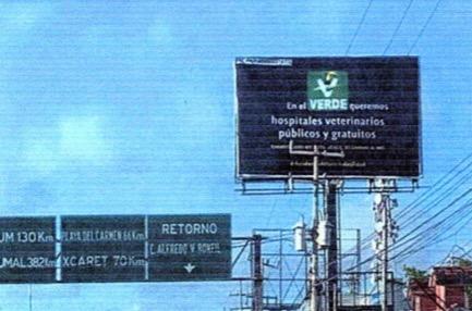 Como medida cautelar, ordena Ieqroo retiro de dos espectaculares del PVEM en Cancún; queda pendiente uno más en Playa del Carmen