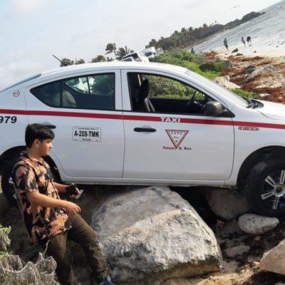 HABÍA CALOR PERO NO ERA PARA TANTO: Taxi termina en la playa de Tulum