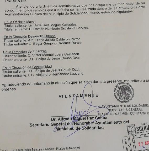 CONFIRMAN CAMBIOS EN AYUNTAMIENTO DE SOLIDARIDAD: Anuncian nombramientos en Oficialía Mayor, Desarrollo Urbano, Finanzas y Contabilidad
