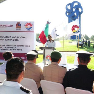 Arranca operativo de Semana Santa 2019 en Cancún; más de dos mil elementos de los tres órdenes de gobierno vigilarán el destino en este periodo vacacional