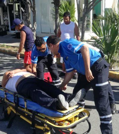FOTOS   Motociclista imprudente derrapa sobre avenida CTM y se lesiona de gravedad