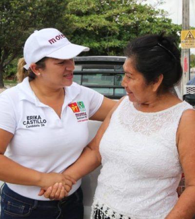 Érika Castillo se compromete a garantizar apoyo a jefas de familia de QR