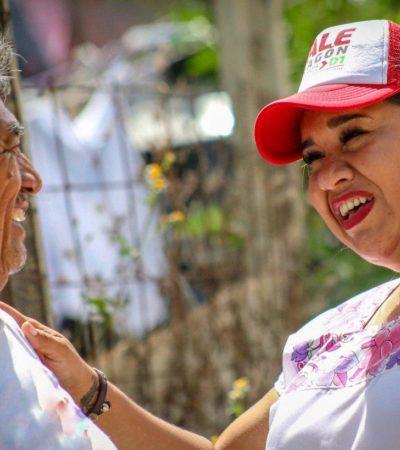 Recibe Vale Aragón apoyo de habitantes de Puerto Morelos
