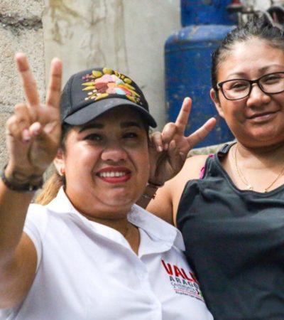 A punto de concluir la campaña electoral, Valeria Aragón agradece el respaldo de ciudadanos del Distrito 1