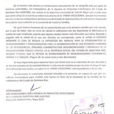 Trabajadores de la AGEPRO denuncian que recibieron incompleto el pago de su prima vacacional